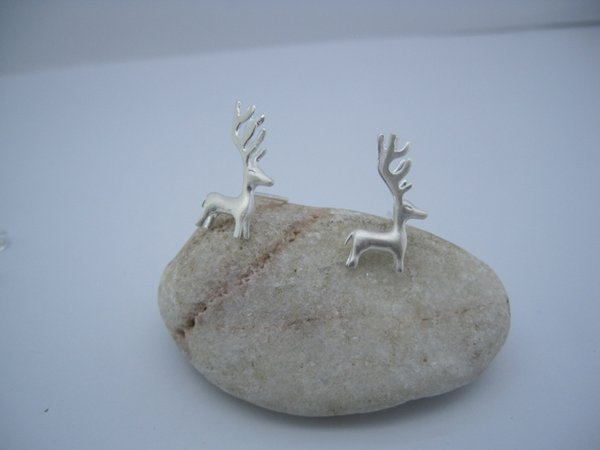 Luxury Brand new 925 sterling silver fashion jewelry hand-made designer cute silver deer post stud earring for Christmas gift free shipping