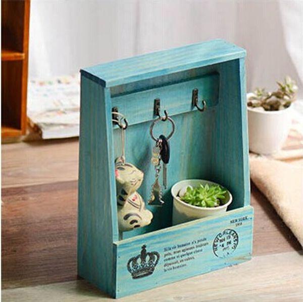 New! Vintage Style Creative Mediterranean Hangable Wall Wooden Key Box Sundries Storage Case Wall Rack Home Decoration