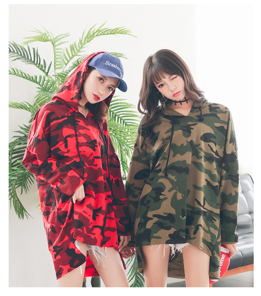 O-Neck Women Camouflage Oversized T Shirt Long Sleeve Plus Size Hooded Tee Shirts Girls Batwing Harajuku Punk Rock Tops Kawaii Clothes
