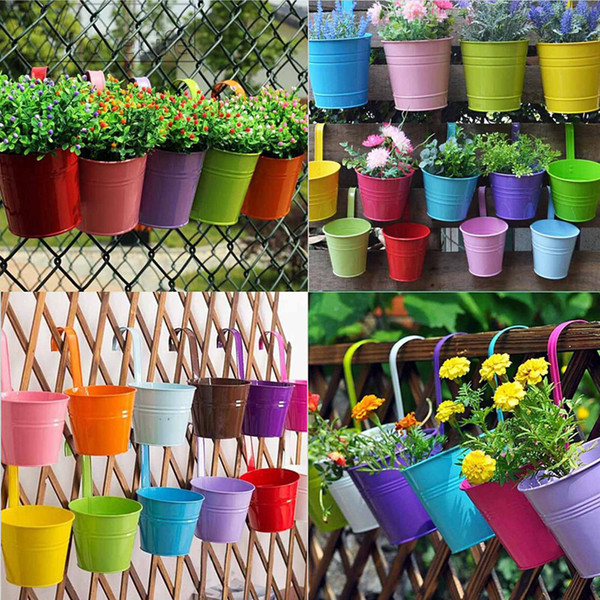 Candy Colors Flower Metal Hanging Pots Garden Balcony Wall Vertical Hang Bucket Iron Holder Basket With Removable Tin Home Decor