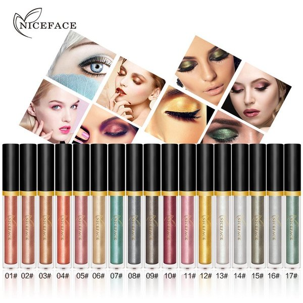 NICEFACE Liquid Eye Shadow Set 17pcs Long-Lasting Shimmer Glitter Pearl Bright Color Eyeshadow Makeup Set regalo di Natale
