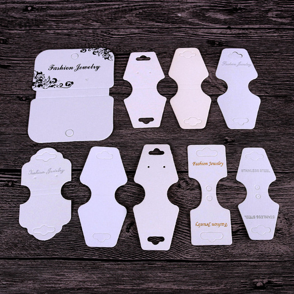 top popular 16 Style Black White Kraft Stud Earring Card Necklace Card Different Size Bracelet Hang Tag Jewelry Display Cards Label Tag 2021