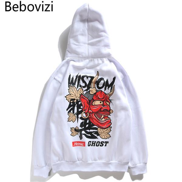 Bebovizi Brand New Harajuku Japan Style Hoodies Hip Hop Evil Devil Printed Casual Cotton Urban Men Streetwear Sweatshirt Hooded