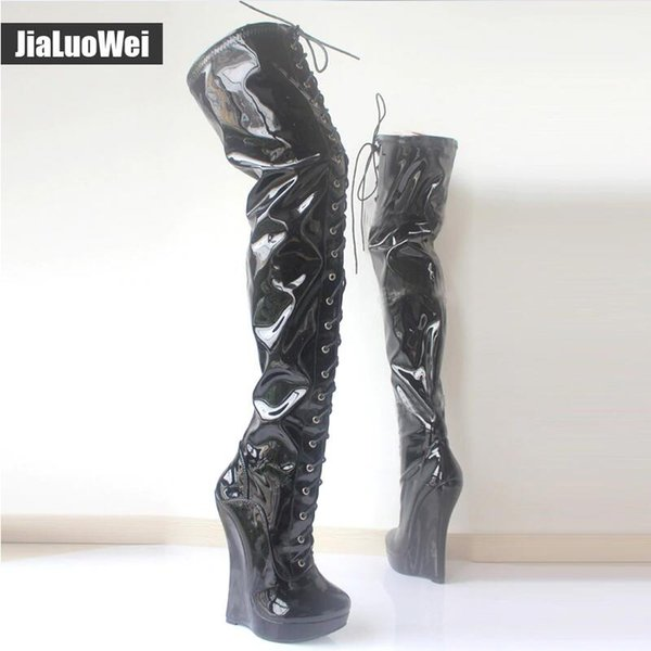 """European style Extreme High 7""""/18CM Wedge Heels Crotch Boots Patent Leather SM Shoes Lace-up Fashion Sexy Platform Thigh High Ballet Boots"""