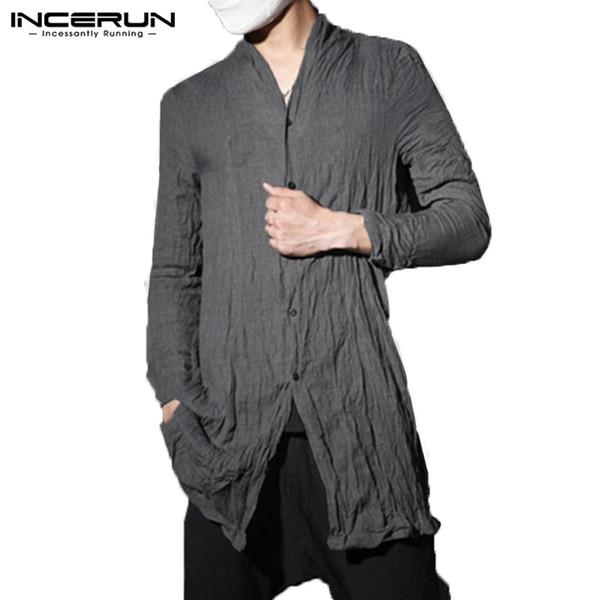 INCERUN Fashion Mens Shirt Kimono Long Shirts Retro Pleated Tee Hiphop Cardigan Outwear Traditional Open Stitch Shirts Hombre