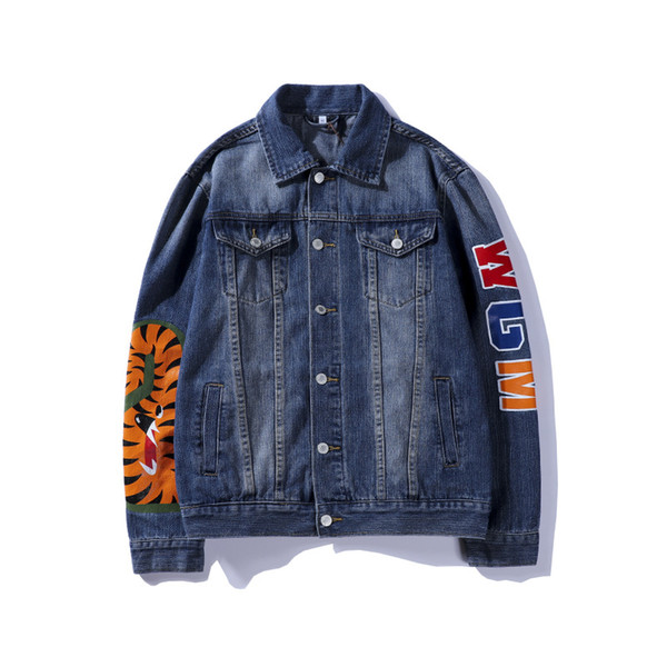 Man cowboy Jacket thin Leisure time printing Jacket blue fashion Loose coat Cardigan New style