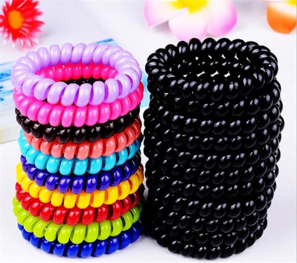 1000pcs black candy color large telephone line hair ring girls pony tails holder R244