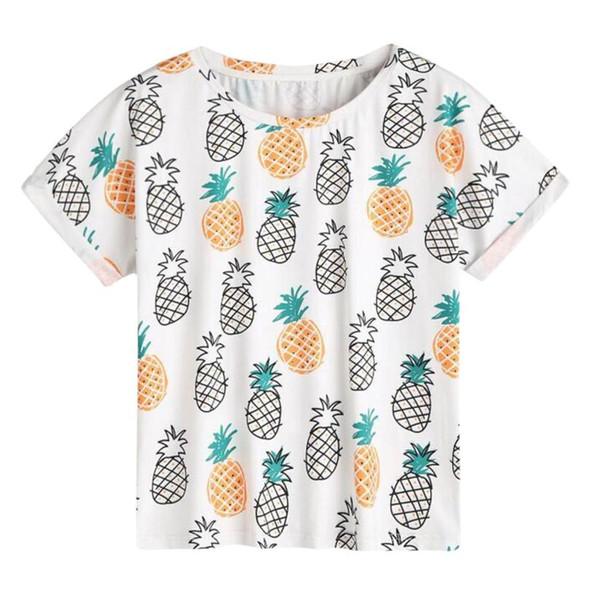 2018 Fashion Summer T Shirts Mujeres Casual de la impresión de la piña del O-cuello de manga corta de alta calidad llanura cuello redondo T-shirt más el tamaño XL