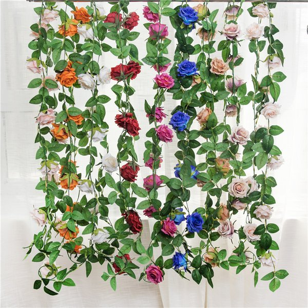 Fake Silk Roses Ivy Vine Artificial Flowers with Green Leaves For Home Wedding Decoration Brand New Fashion Silk Rose Flower Fake