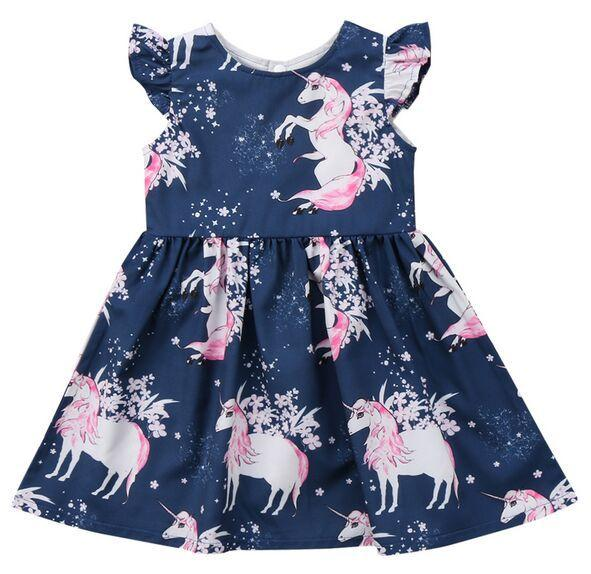 Fashion cute toddler infant girls floral animal unicorn pattern summer dress night star flower dresses kids clothing