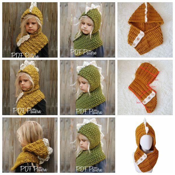 AMUSE 2 in 1 Dinosaur scarf cap Kids Infant Beanies Warm Knitted Hats Children cartoon warmer Winter crochet Hat 12pcs 2Colors AAA1071