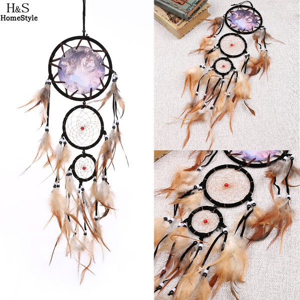 Cheap Home decor Rattan Dream Catcher with Feathers Rome Wall Hanging Decoration Handmade Dreamcatcher Indian Style N3020