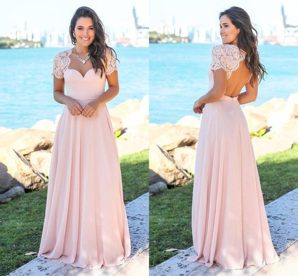 top popular Blush Country Bridesmaid Dresses 2019 Scoop Hollow Back Lace Top Sweep Train Chiffon Beach Garden Wedding Guest Gowns Maid Of Honor Dress 2019