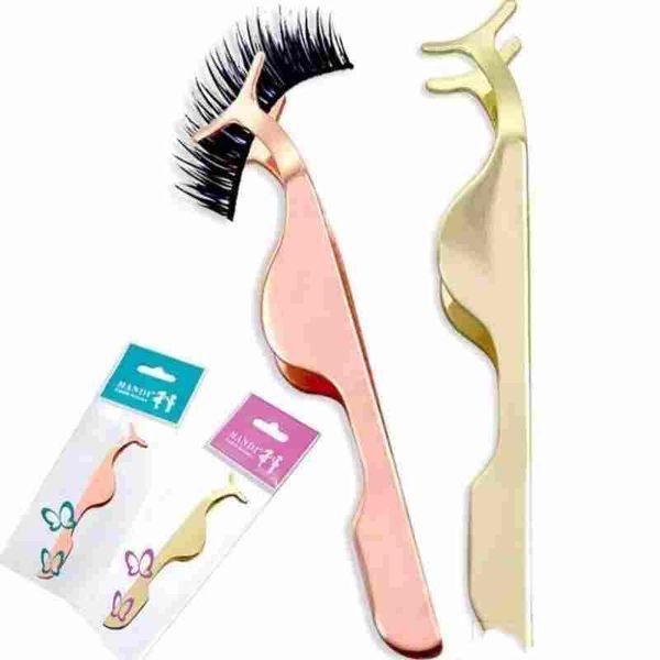 False Eyelash Tweezers Fake Eye Lash Applicator Eyelash Extension Curler Nipper Auxiliary Clip Clamp Makeup Forceps Tools