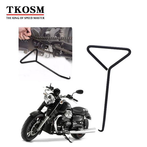 TKOSM Motorcycle Bicycle T-Handle Spring Hook Exhaust Stand Puller Stainless Steel Tools Motorcycle Accessories