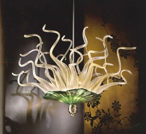 Beautiful Murano Glass Flower Chandelier Dale Chihuly Style Hand Blown Glass Twist and Plates Art Design Chandelier Crystal Pendant Lights