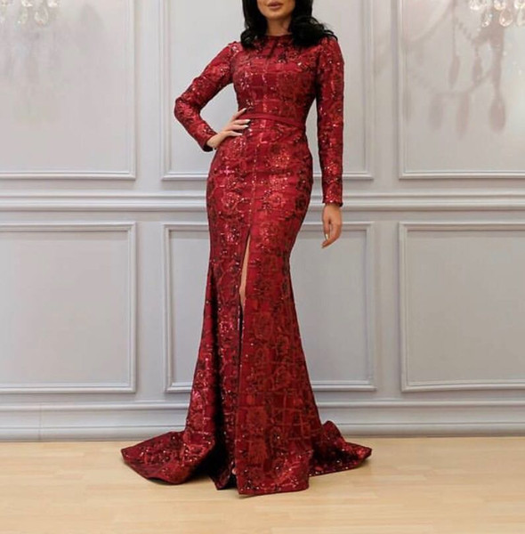Red Long Sleeves Mermaid Lace Sequins Evening Dresses With Side Spilt
