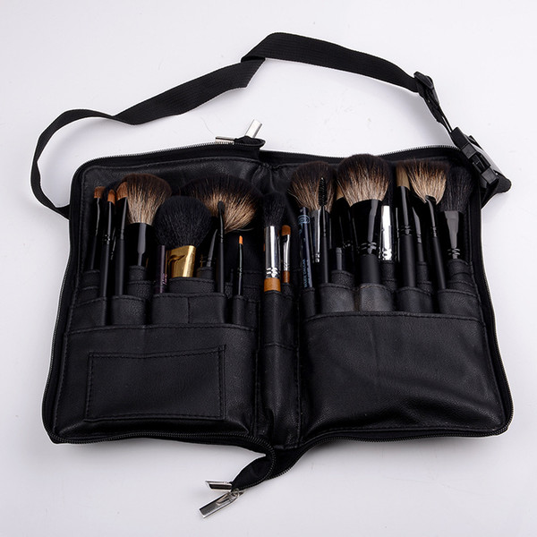 Two Arrays Cosmetic Makeup Brush PVC Apron Bag Artist Belt Strap Protable Professional Make up Bag Cosmetic Brush Holder