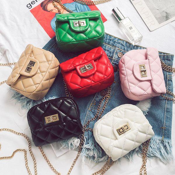 Kids Handbag Baby Girls Pu Leather Plaid Bags Cross-body Bags Fashion Korean Children Mini Coin Purses Candies Chain Bag 6Colors