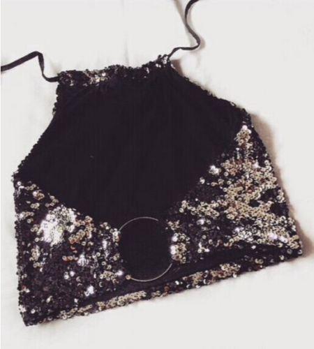 2017 новая мода sexy bling camis блестками черный женщины Sexy жилет растениеводство TopTee блесток рукавов короткие партии топы