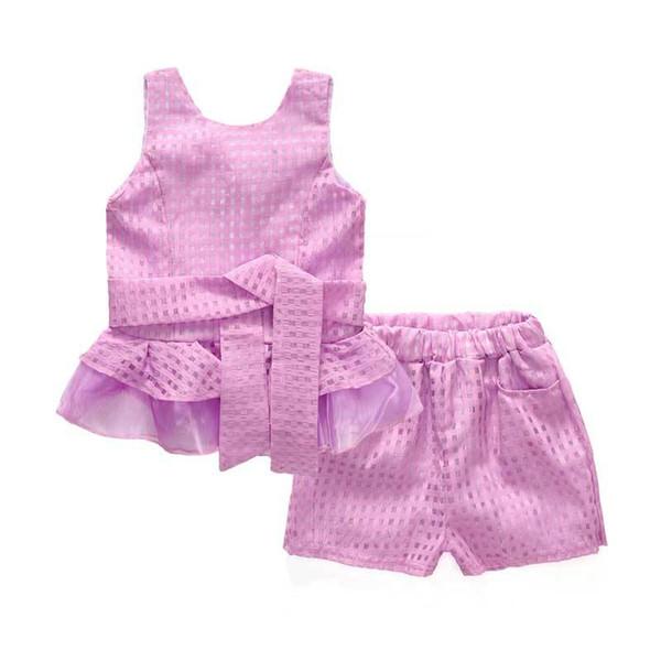 New Summer Girls Clothing Sets Chiffon Plaid Sleeveless Shirt +shorts Suits Baby Girls Princess Kids Clothes