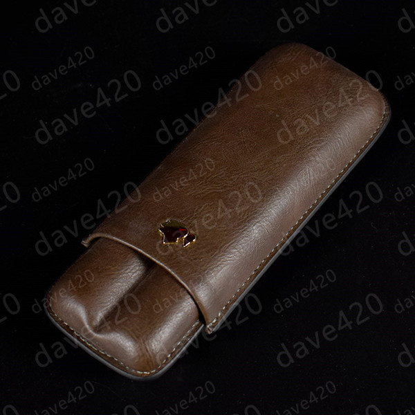 best selling Brown color Cigar leather pouch Humidor tobacco cigarette pipe double Cigar tube travel carrying Case Holder 2 cigar with gift box