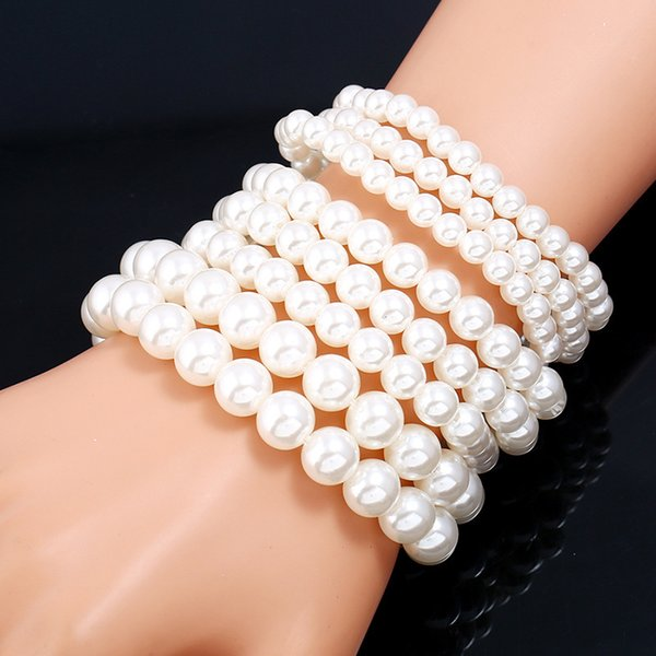Yiwu small goods new multi-layer imitation pearl bracelet Ladies dance party wearing beaded jewelry