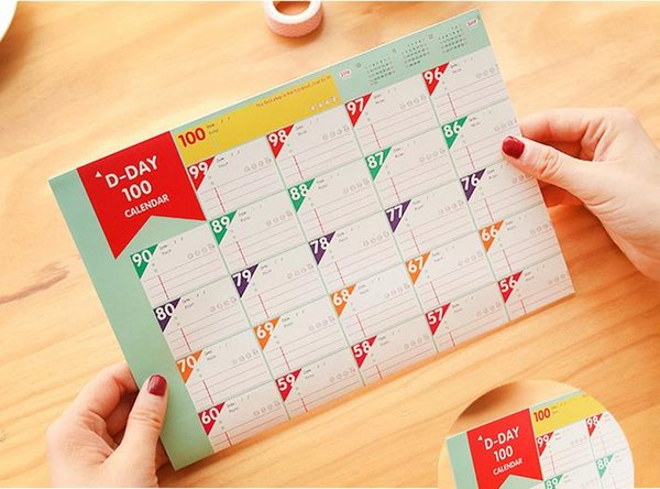 best selling 12pcs lot New Superdeal 100 Day Countdown Calendar Learning Schedule Periodic Planner Table Gift For Kids Study Planning Learning Supplies