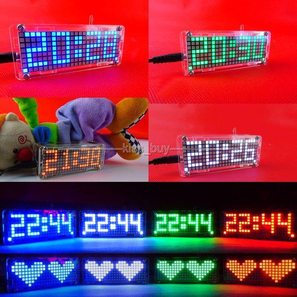 Freeshipping Dot Matrix DIY Kits digital clock electronic Alarm clock microcontroller time blue led thermometer
