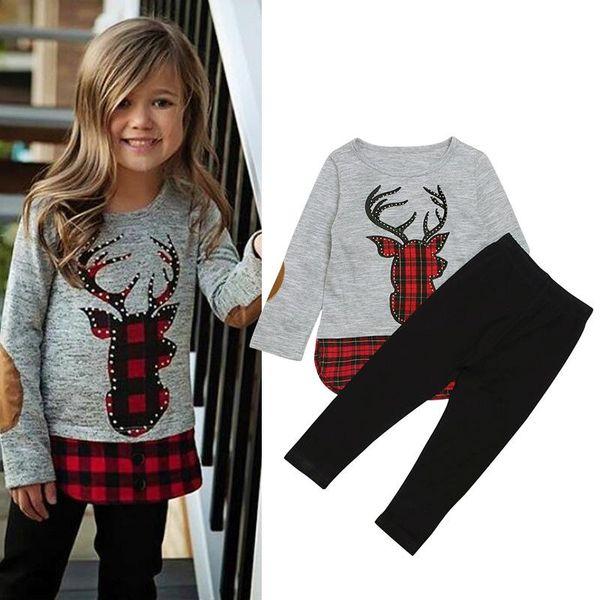 Bebé niñas traje de celosía de alces de Navidad niños ciervos de cuadros + pantalones 2 unids / set 2018 Nuevo Otoño de moda Boutique Niños de Navidad Conjuntos de ropa