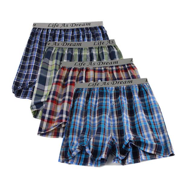 PEONFLY Classic Plaid Men's Boxers Cotton Mens Underwear Trunks Woven Homme Arrow Panties Boxer plus size 4XL 4Pcs/Lot