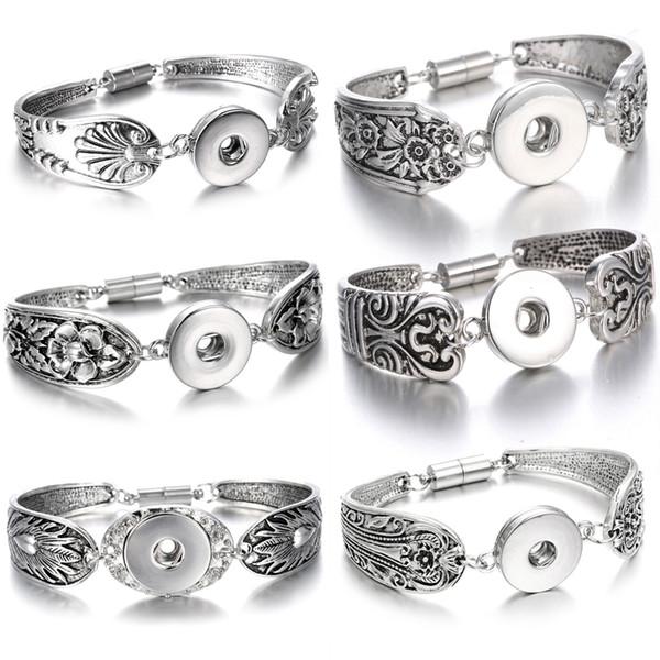 Noosa Chunk Snap Button Jewelry Bracelet Bohemian Vintage Silver Magnet Metal Snap Button Bracelet Watches Pulseras Women 18mm Snap Jewelry