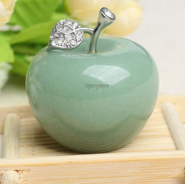 50mm Natural Crystal Paperweight Green Apple Figurine Decoration Christmas Gift
