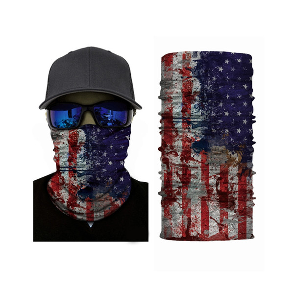 Flag Pattern Magic Face Mask Seamless Bandana Outdoor Cycling Neck Sleeve Polyester fiber material with soft texture, durable to use