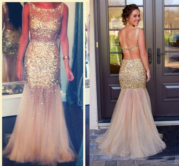 Sparkly Bling Beads Gold Mermaid Evening Dresses Sexy Open Back Sheer Neck Tulle Shirt 2018 Long Formal Prom Gowns