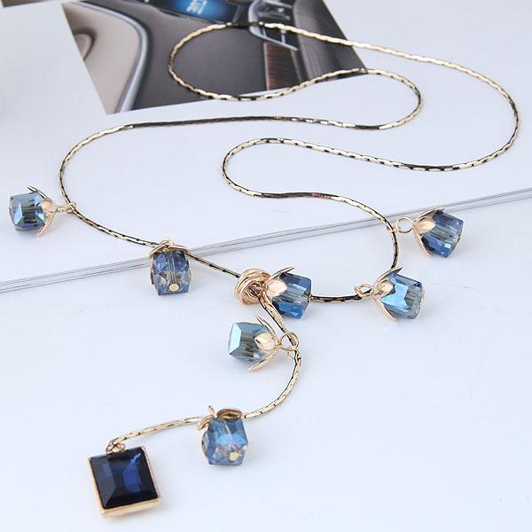 blue crystal long necklaces for women gold color chain rhinestone square beads charm pendant female sweater necklace