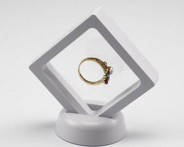 Black White Suspended Floating Display Case Jewellery Ring Coins Gems Artefacts Stand Holder Box Free Shipping ZD5461