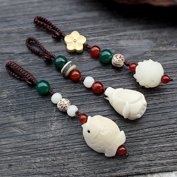 WEIYU Carved Tagua Nut Lotus&Fish Pendant Keychain Key Holder Natural Ivory White Wood Handcrafted Charm Car Key Ring Jewelry