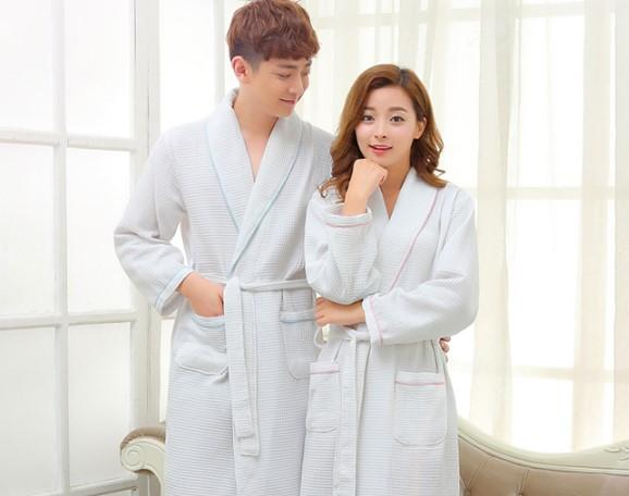 ZDFURS * home autumn thin toweled lovers cotton robe couple large size bathrobe male and female spa bathrobe home clothing