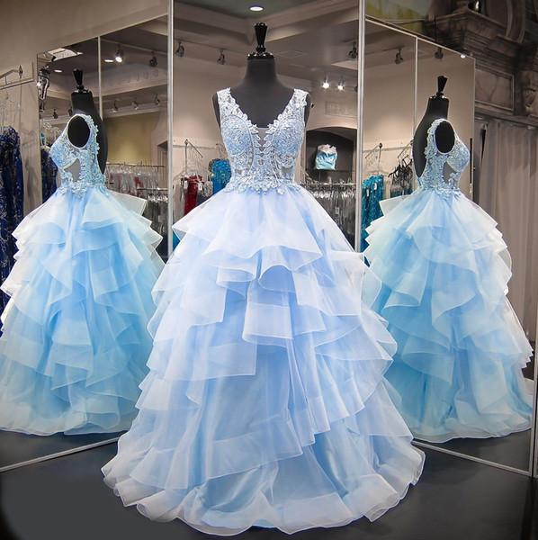 Doce 16 Ano de Renda Quinceanera Vestidos de Tule Azul vestido de debutante 15 anos Vestidos de Baile V Neck Sheer Vestidos de Baile Para A Festa Babados
