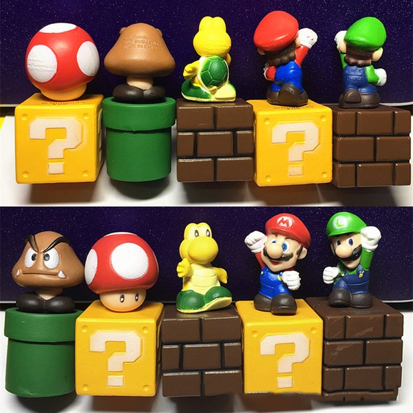 Super Mario Bros Peach Toad Mario Luigi Yoshi Donkey Kong PVC Action Figure Toys Dolls 5pcs a Set Gift for Girl Boy