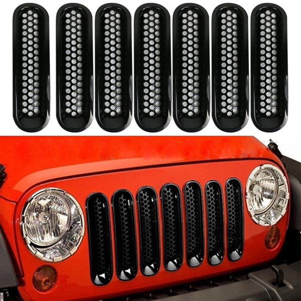 7Pcs Universal Black Front Grill Cover Mesh Grilles Inserts For Jeep Wrangler JK