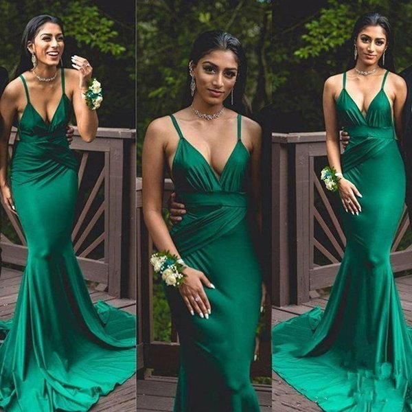 9525efd821 Elegant Satin Green Mermaid Prom Dresses V-Neck Evening Dress 2019 Long  Party Gowns Glamorous