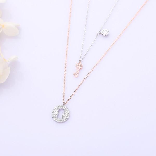 Sterling-Silber-Schmuck 925 Minimalist Lady Clavicle Double Halskette Kristall Zirkon Key und Lock Set Anhänger Choker für Frauen