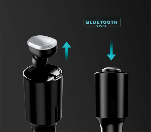 Wireless Car Charger Bluetooth Earphone V1 In-ear Design Bluetooth4.1 Compatable With All Car Dual USB Charging Handsfree One For Two