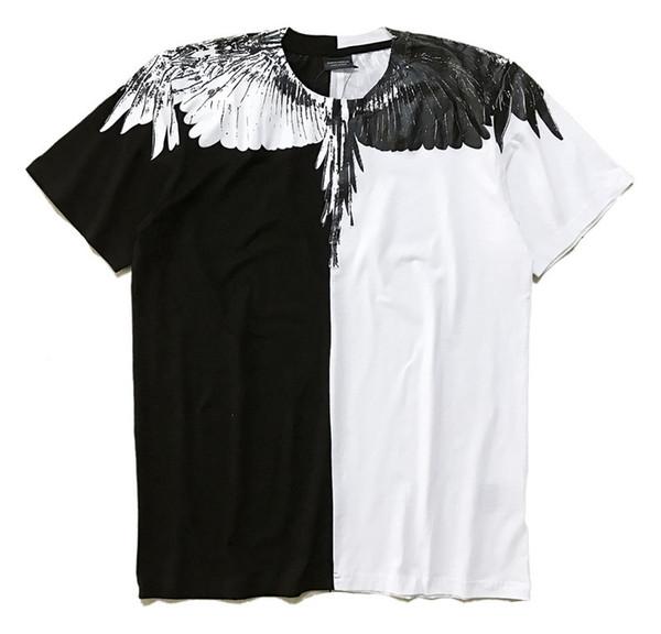 Marcelo Burlon Tişörtlü İtalya İlçe Milan Of Tüy Kanat Erkekler Tişörtler Moda 2018 Günlük kadın Yaz Stili Tee Yüksek Kalite