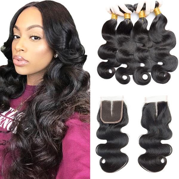 Body Wave Cabellos de cabello humano recto con 4 * 4 Cierre de encaje Extensiones de cabello humano barato 4Bundles Húmedo y ondulado Con Cierre de cabello brasileño
