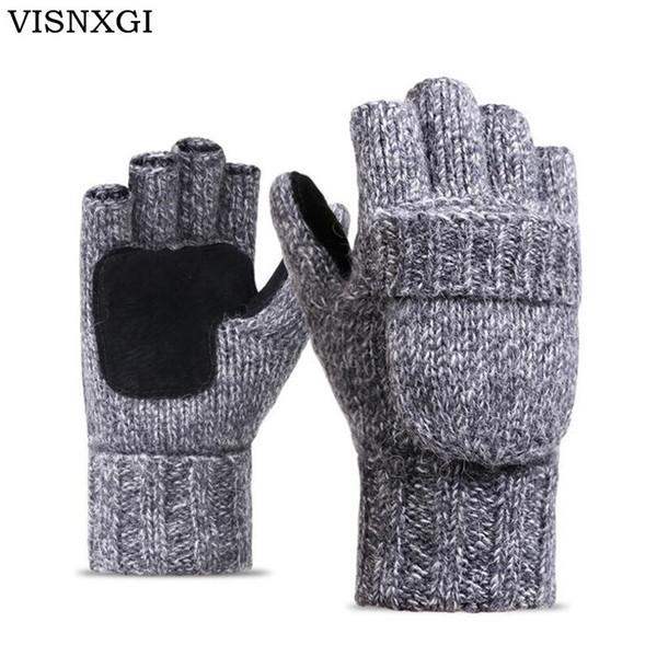 VISNXGI Work Thick Male Fingerless Gloves Men Women Wool Winter Warm Exposed Finger Mittens Knitted Warm Flip Half Finger Gloves D18110705