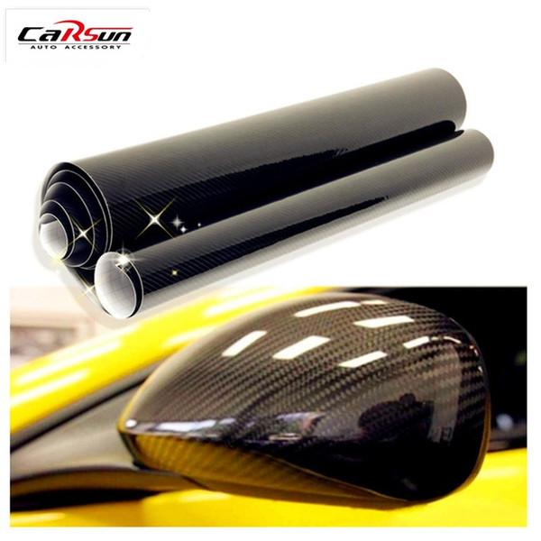 Etiqueta engomada del coche 5D 200 * 50 cm (78.7X19.7 pulgadas) Película de vinilo brillante de fibra de carbono Envoltura de lámina impermeable Etiqueta engomada decorativa del coche de DIY