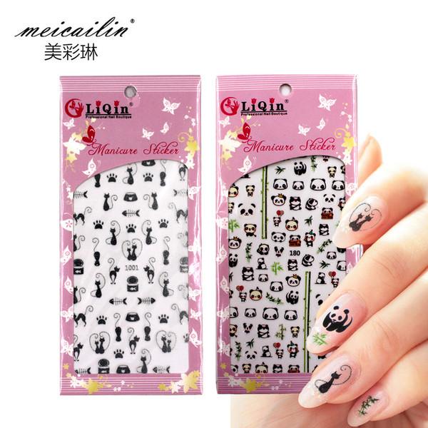 Meicailin 1 Feuille En Relief 3D Eau Nail Autocollants Stickers Panda Fleur Chat Numérique Lettre 3D Nail Art Décorations Ongle